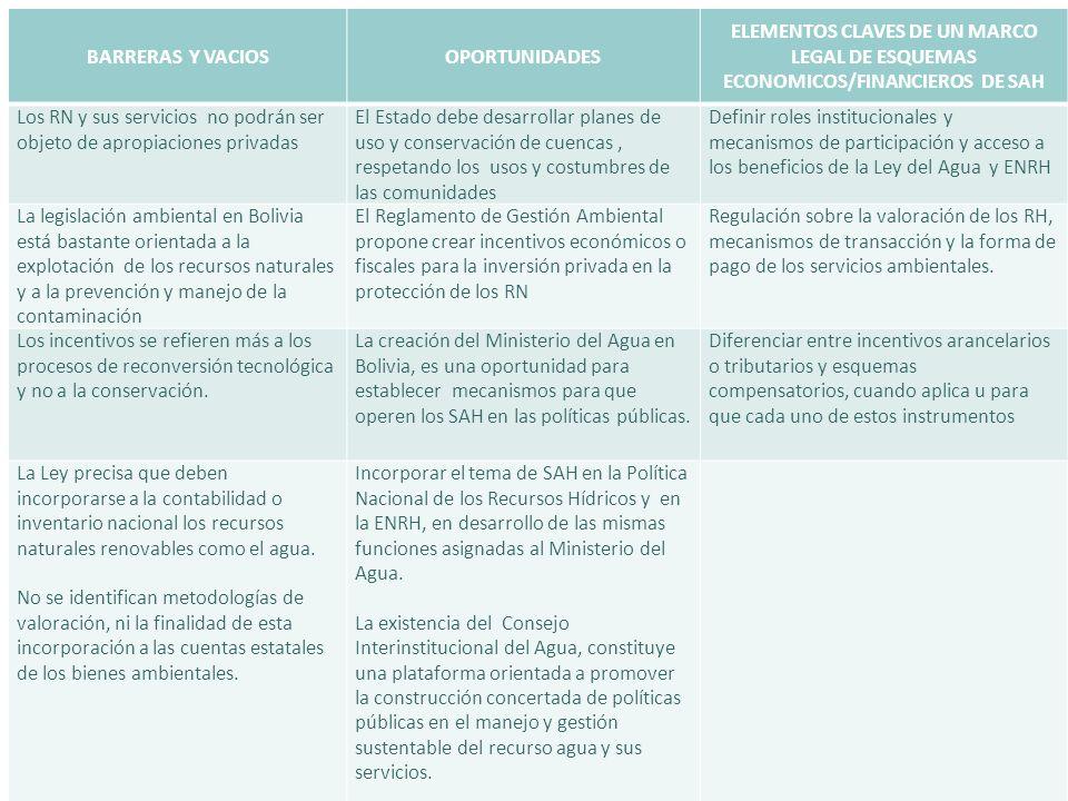 BARRERAS Y VACIOSOPORTUNIDADES ELEMENTOS CLAVES DE UN MARCO LEGAL DE ESQUEMAS ECONOMICOS/FINANCIEROS DE SAH Los RN y sus servicios no podrán ser objet