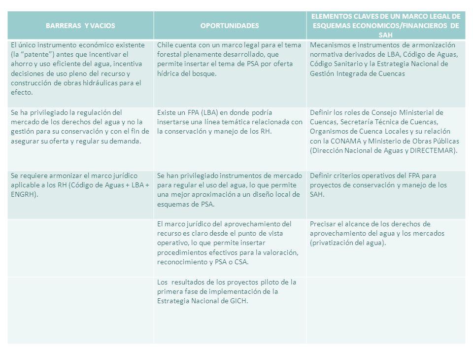 BARRERAS Y VACIOSOPORTUNIDADES ELEMENTOS CLAVES DE UN MARCO LEGAL DE ESQUEMAS ECONOMICOS/FINANCIEROS DE SAH El único instrumento económico existente (