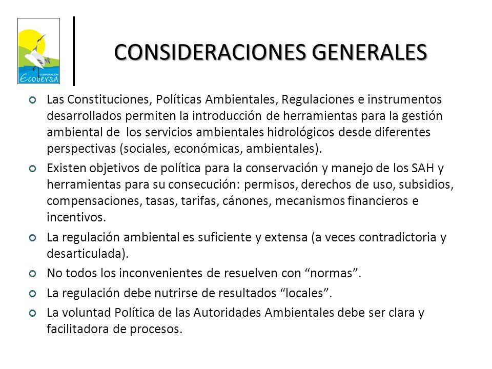 CONSIDERACIONES GENERALES Las Constituciones, Políticas Ambientales, Regulaciones e instrumentos desarrollados permiten la introducción de herramienta