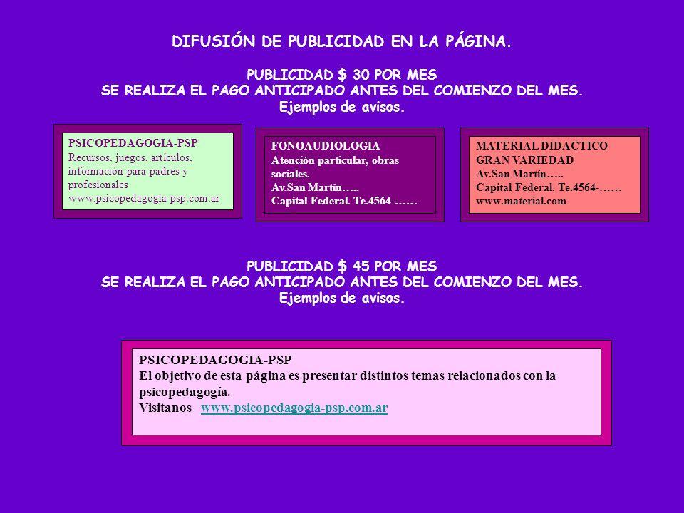 DIFUSIÓN DE PUBLICIDAD EN LA PÁGINA.