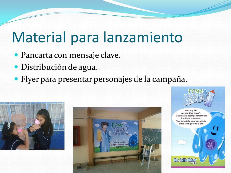 Material para lanzamiento Pancarta con mensaje clave. Distribución de agua. Flyer para presentar personajes de la campaña.