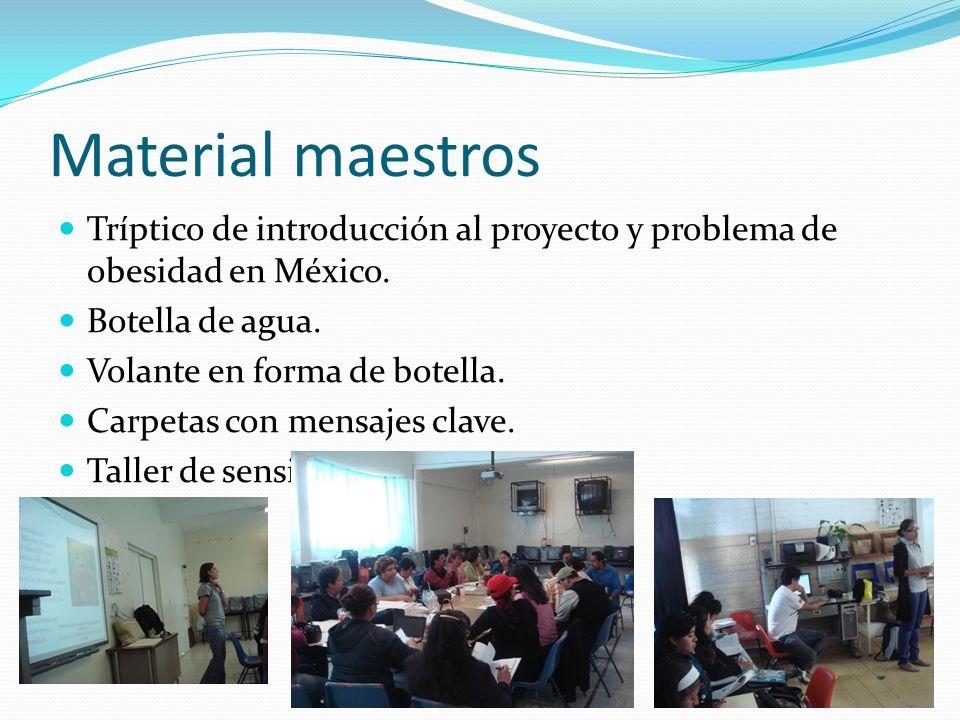 Material maestros Tríptico de introducción al proyecto y problema de obesidad en México. Botella de agua. Volante en forma de botella. Carpetas con me