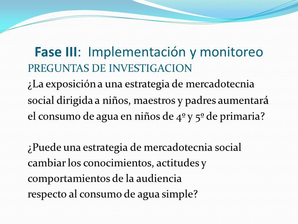 Fase III: Implementación y monitoreo PREGUNTAS DE INVESTIGACION ¿La exposición a una estrategia de mercadotecnia á social dirigida a niños, maestros y