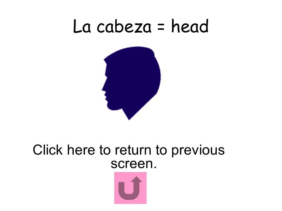 La cabeza = head Click here to return to previous screen.