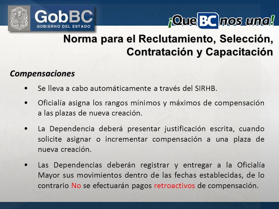 Compensaciones Se lleva a cabo automáticamente a través del SIRHB. Oficialía asigna los rangos mínimos y máximos de compensación a las plazas de nueva