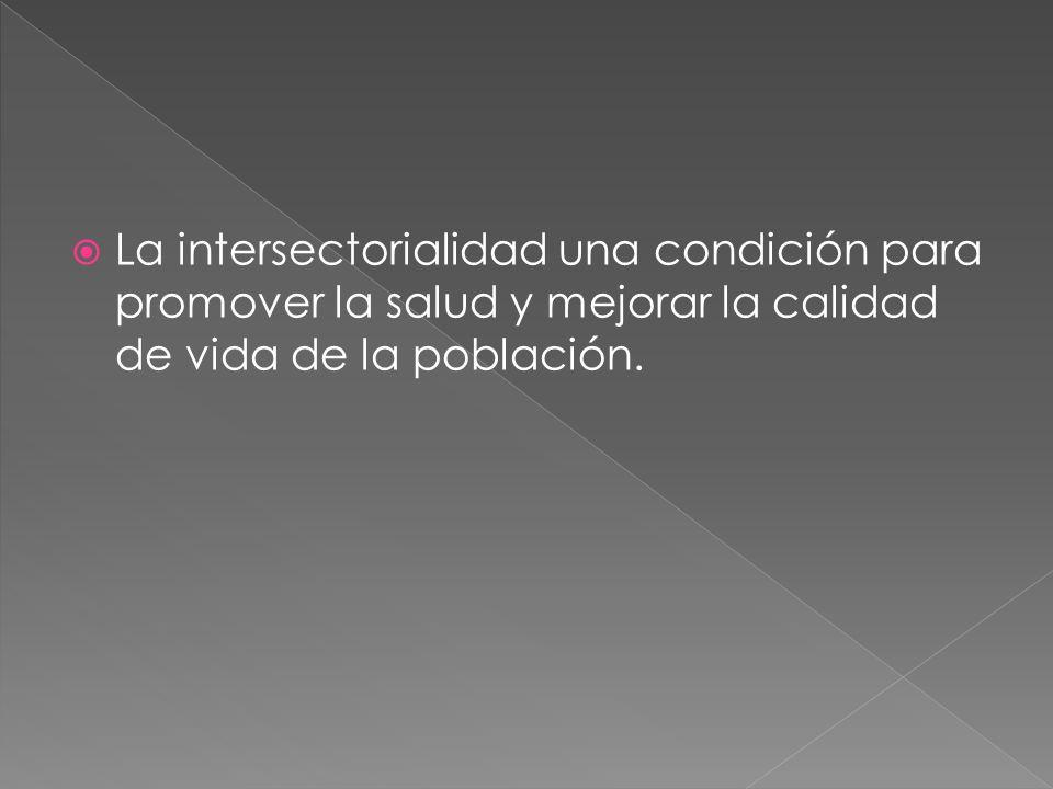 La intersectorialidad una condición para promover la salud y mejorar la calidad de vida de la población.