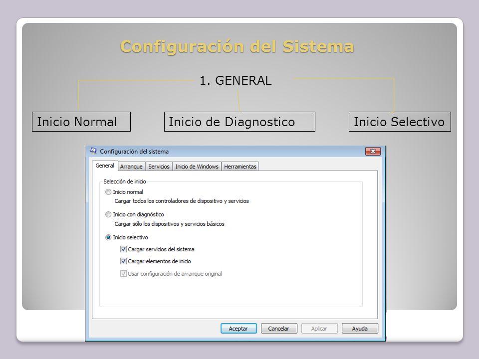 Configuración del Sistema 1. GENERAL Inicio NormalInicio de DiagnosticoInicio Selectivo
