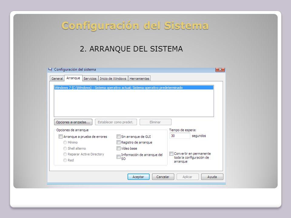 Configuración del Sistema 2. ARRANQUE DEL SISTEMA