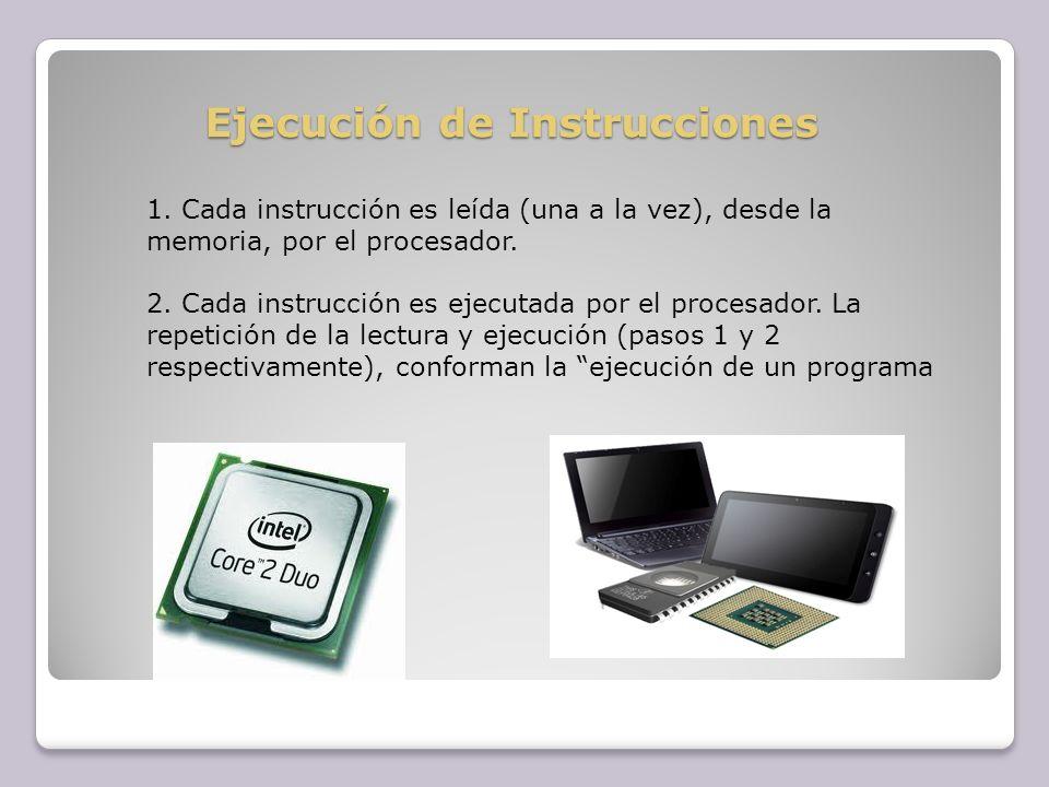 Ejecución de Instrucciones 1. Cada instrucción es leída (una a la vez), desde la memoria, por el procesador. 2. Cada instrucción es ejecutada por el p
