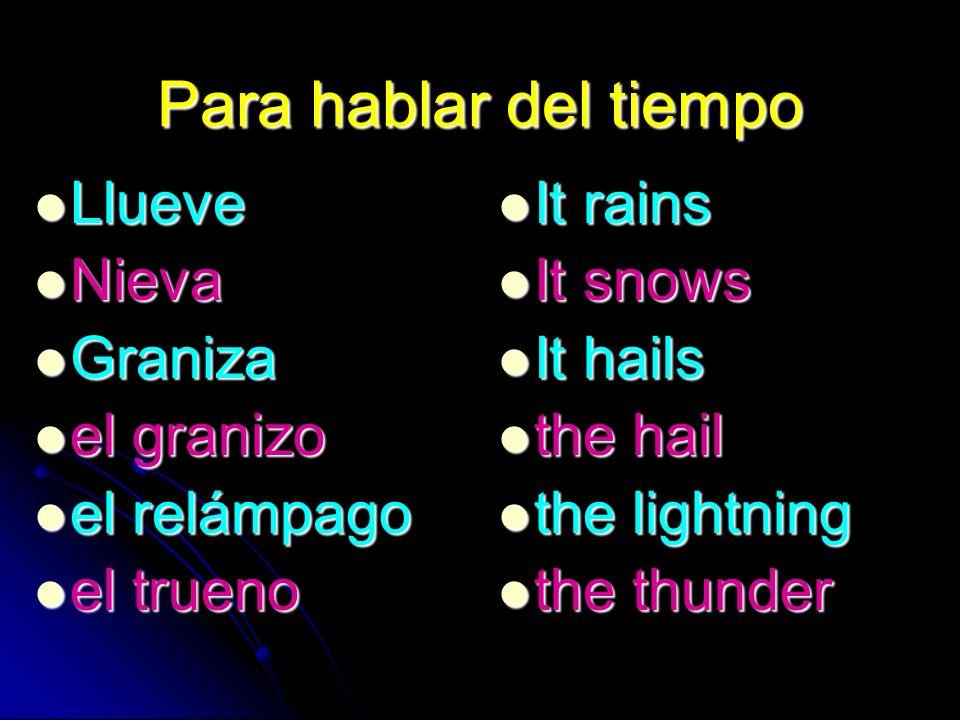 Para hablar del tiempo Llueve Llueve Nieva Nieva Graniza Graniza el granizo el granizo el relámpago el relámpago el trueno el trueno It rains It rains It snows It snows It hails It hails the hail the hail the lightning the lightning the thunder the thunder