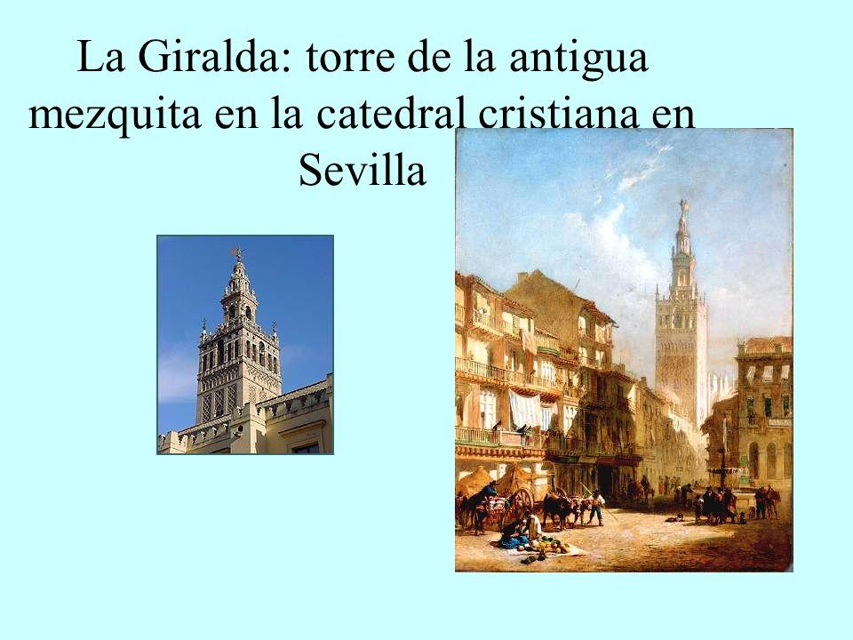 La Giralda: torre de la antigua mezquita en la catedral cristiana en Sevilla