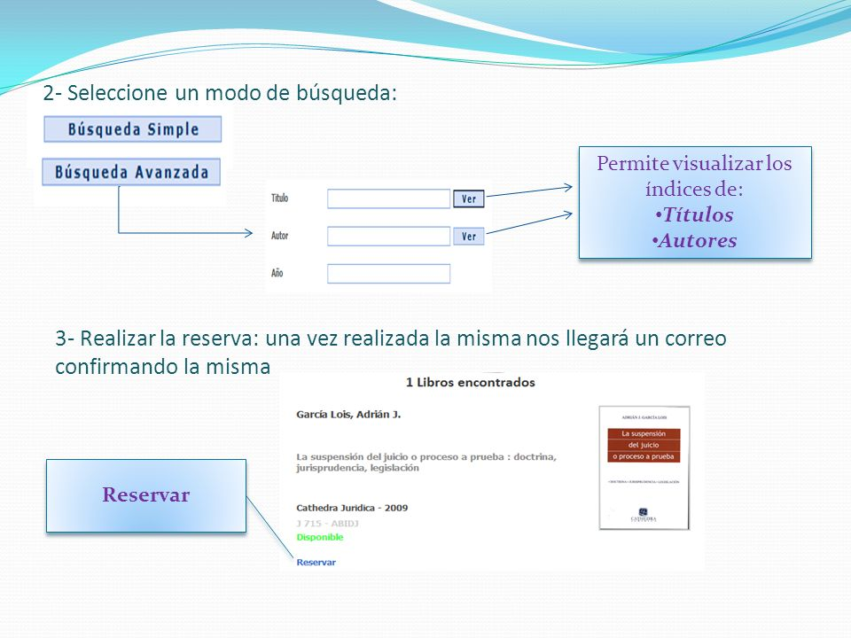 2- Seleccione un modo de búsqueda: Permite visualizar los índices de: Títulos Autores Permite visualizar los índices de: Títulos Autores 3- Realizar l