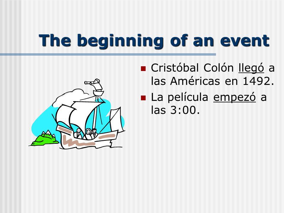The beginning of an event Cristóbal Colón llegó a las Américas en 1492.