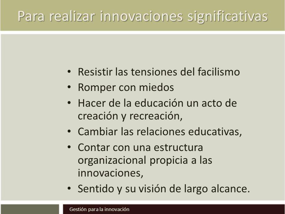Para realizar innovaciones significativas Resistir las tensiones del facilismo Romper con miedos Hacer de la educación un acto de creación y recreació