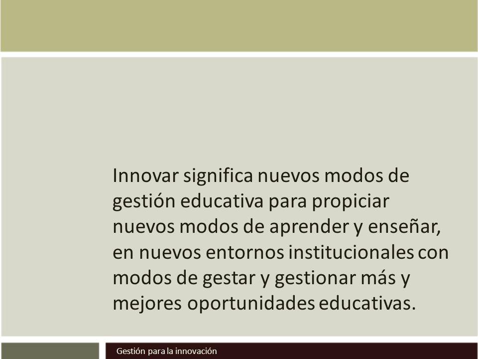 Innovar significa nuevos modos de gestión educativa para propiciar nuevos modos de aprender y enseñar, en nuevos entornos institucionales con modos de gestar y gestionar más y mejores oportunidades educativas.
