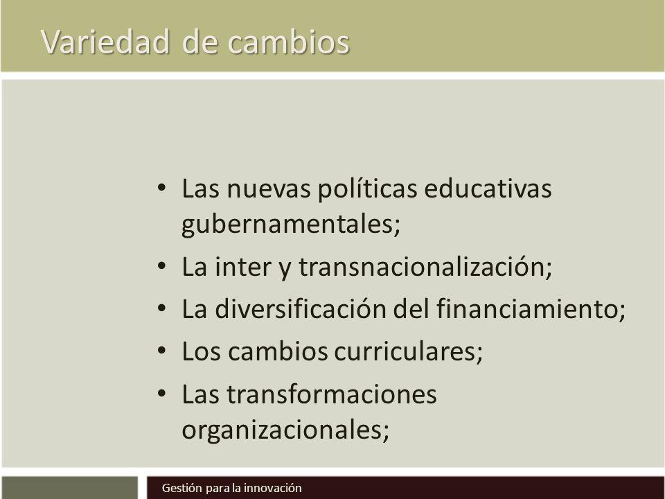 Variedad de cambios Las nuevas políticas educativas gubernamentales; La inter y transnacionalización; La diversificación del financiamiento; Los cambios curriculares; Las transformaciones organizacionales; Gestión para la innovación