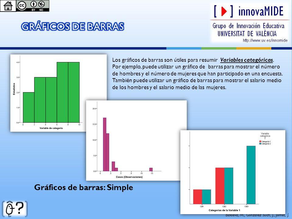 Gráficos de barras: Simple Los gráficos de barras son útiles para resumir Variables categóricas. Por ejemplo, puede utilizar un gráfico de barras para