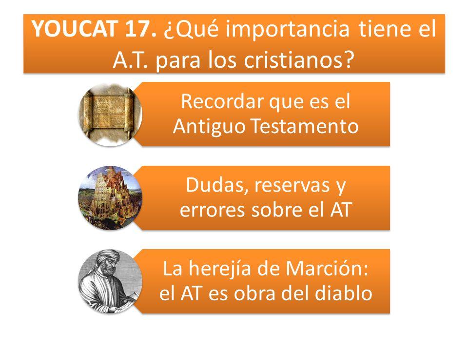 YOUCAT 17. ¿Qué importancia tiene el A.T. para los cristianos? Recordar que es el Antiguo Testamento Dudas, reservas y errores sobre el AT La herejía
