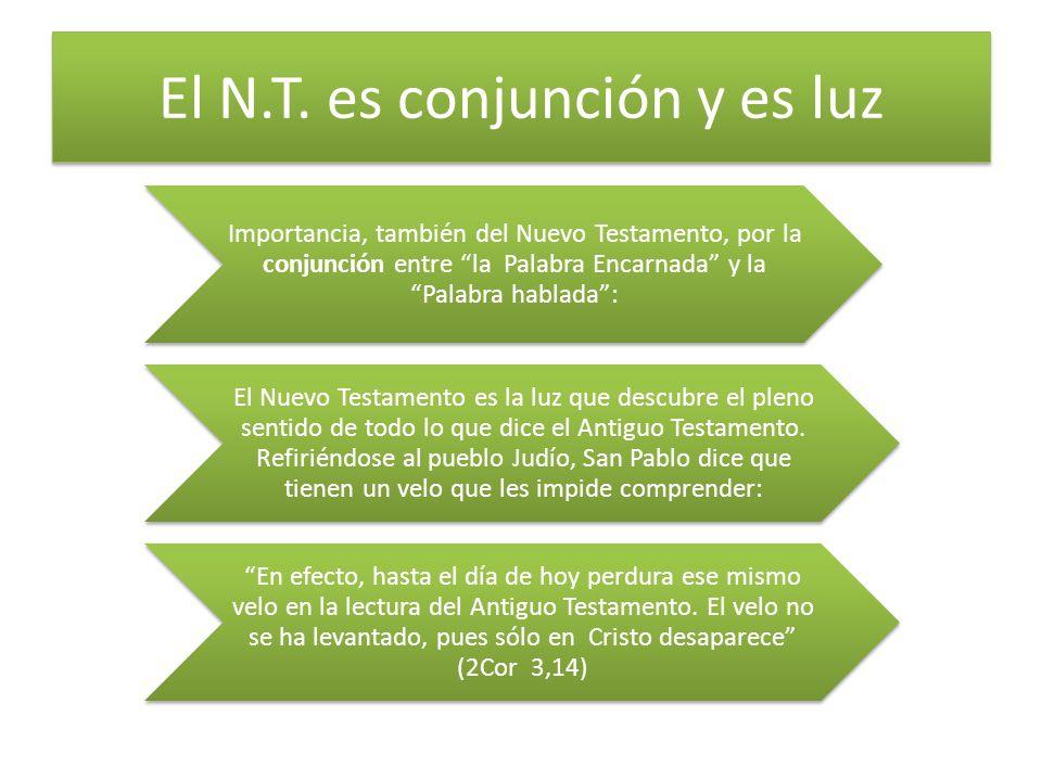 El N.T. es conjunción y es luz Importancia, también del Nuevo Testamento, por la conjunción entre la Palabra Encarnada y la Palabra hablada: El Nuevo