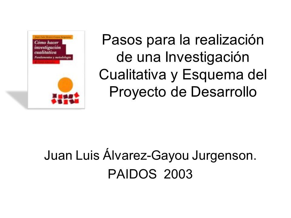 Pasos para la realización de una Investigación Cualitativa y Esquema del Proyecto de Desarrollo Juan Luis Álvarez-Gayou Jurgenson. PAIDOS 2003