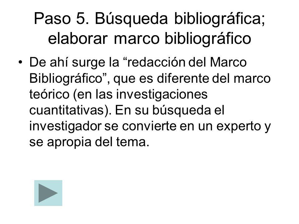 Paso 5. Búsqueda bibliográfica; elaborar marco bibliográfico De ahí surge la redacción del Marco Bibliográfico, que es diferente del marco teórico (en