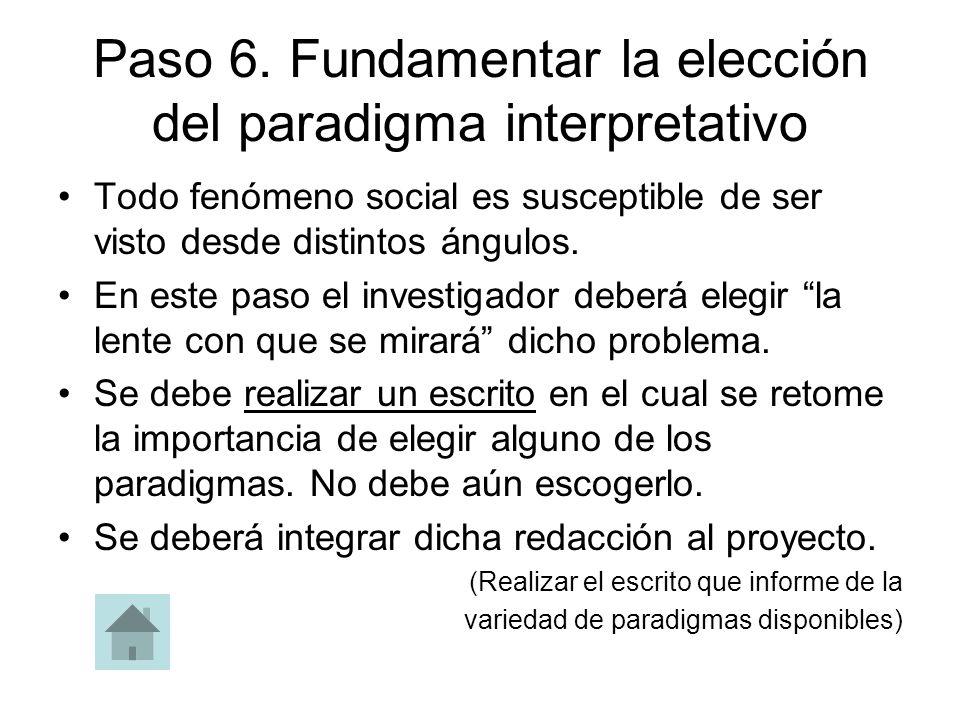 Paso 6. Fundamentar la elección del paradigma interpretativo Todo fenómeno social es susceptible de ser visto desde distintos ángulos. En este paso el