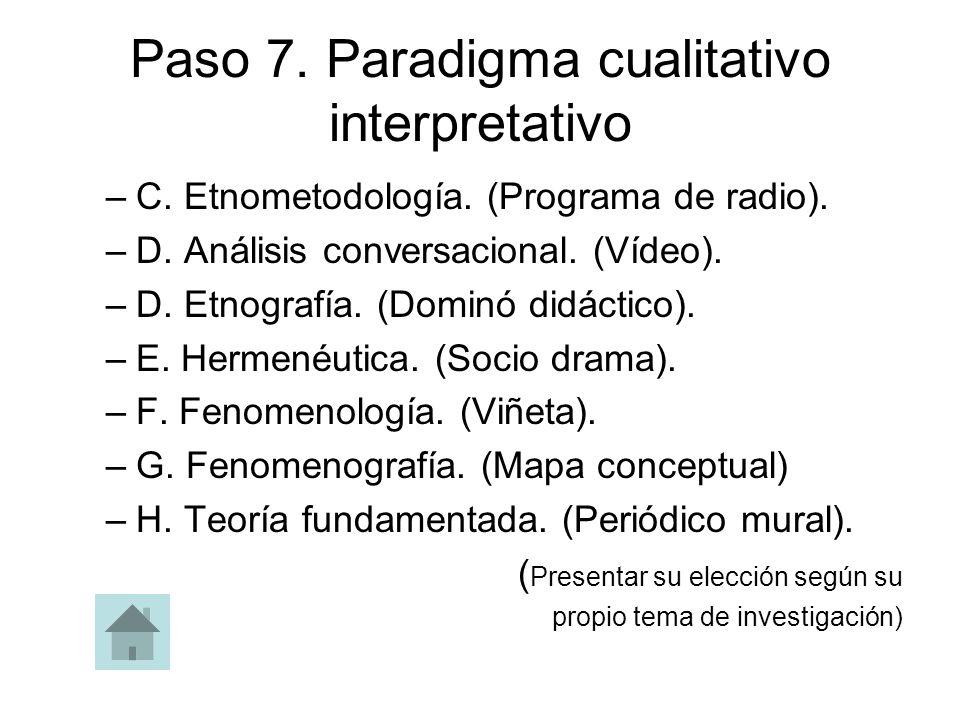 Paso 7. Paradigma cualitativo interpretativo –C. Etnometodología. (Programa de radio). –D. Análisis conversacional. (Vídeo). –D. Etnografía. (Dominó d