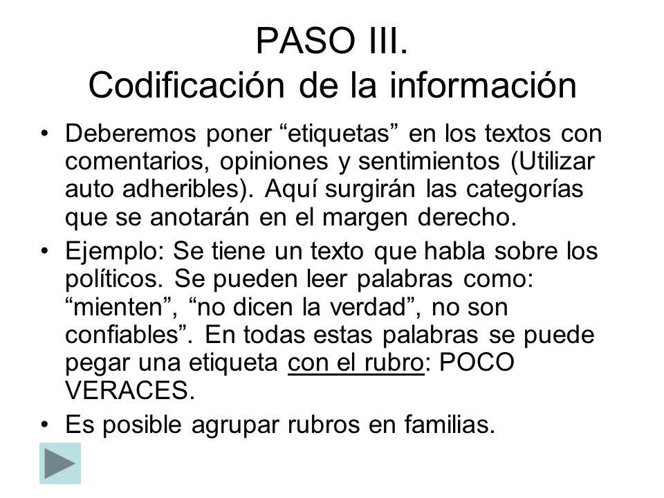 PASO III. Codificación de la información Deberemos poner etiquetas en los textos con comentarios, opiniones y sentimientos (Utilizar auto adheribles).