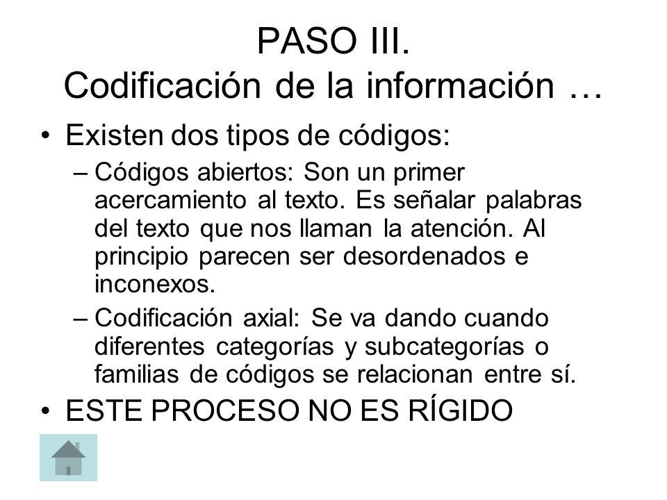 PASO III. Codificación de la información … Existen dos tipos de códigos: –Códigos abiertos: Son un primer acercamiento al texto. Es señalar palabras d