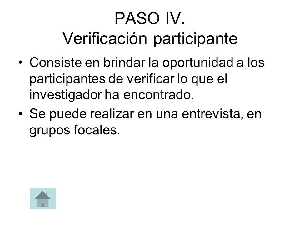 PASO IV. Verificación participante Consiste en brindar la oportunidad a los participantes de verificar lo que el investigador ha encontrado. Se puede