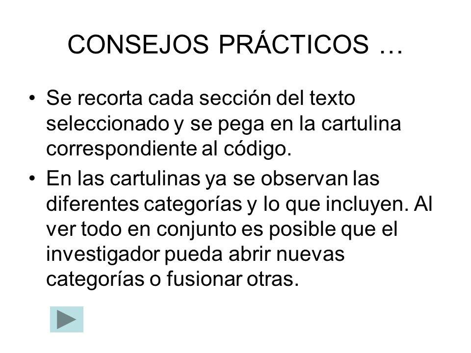 CONSEJOS PRÁCTICOS … Se recorta cada sección del texto seleccionado y se pega en la cartulina correspondiente al código. En las cartulinas ya se obser