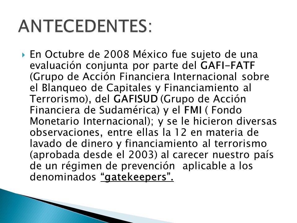 En Octubre de 2008 México fue sujeto de una evaluación conjunta por parte del GAFI-FATF (Grupo de Acción Financiera Internacional sobre el Blanqueo de