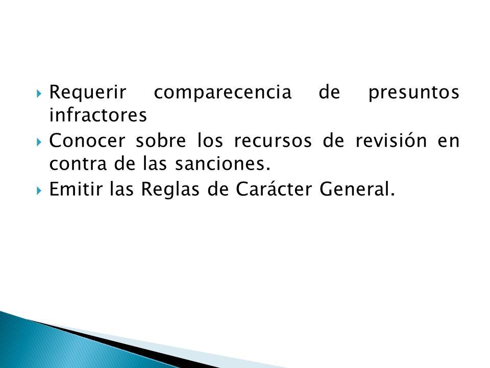 Requerir comparecencia de presuntos infractores Conocer sobre los recursos de revisión en contra de las sanciones. Emitir las Reglas de Carácter Gener