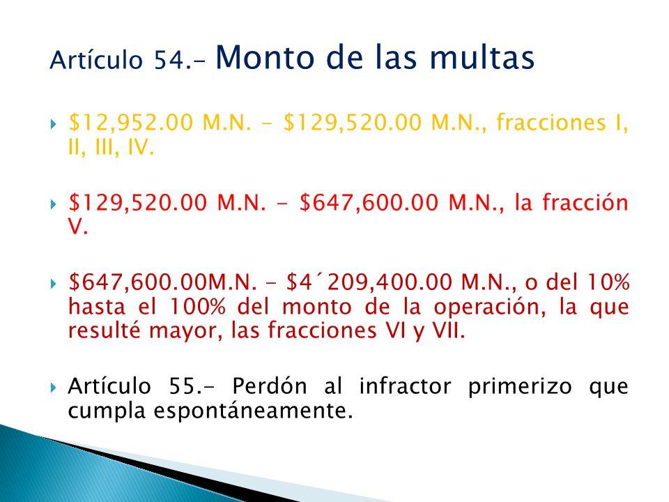 Artículo 54.- Monto de las multas $12,952.00 M.N. - $129,520.00 M.N., fracciones I, II, III, IV. $129,520.00 M.N. - $647,600.00 M.N., la fracción V. $