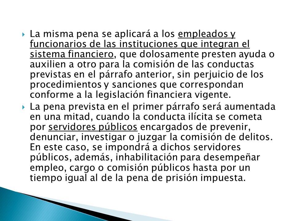 EN CASO DE CONDUCTAS PREVISTAS EN ESTE ARTÍCULO, EN LAS QUE SE UTILICEN SERVICIOS DE INSTITUCIONES QUE INTEGRAN EL SISTEMA FINANCIERO, PARA PROCEDER PENALMENTE SE REQUIERE LA DENUNCIA PREVIA DE LA SECRETARÍA DE HACIENDA Y CRÉDITO PÚBLICO.