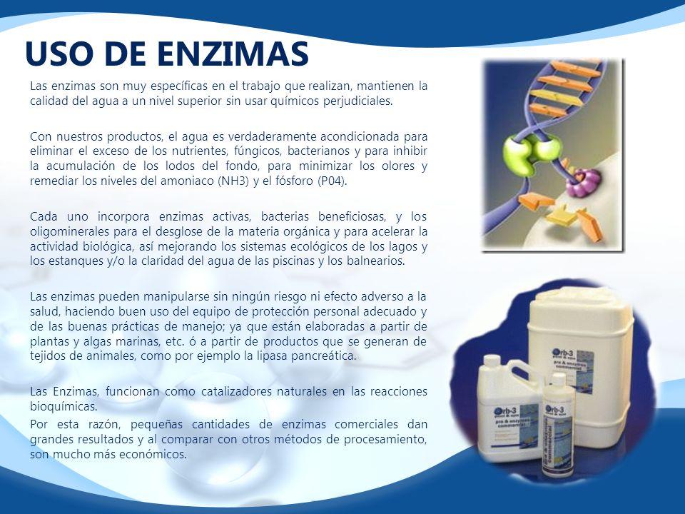 USO DE ENZIMAS Las enzimas son muy específicas en el trabajo que realizan, mantienen la calidad del agua a un nivel superior sin usar químicos perjudi