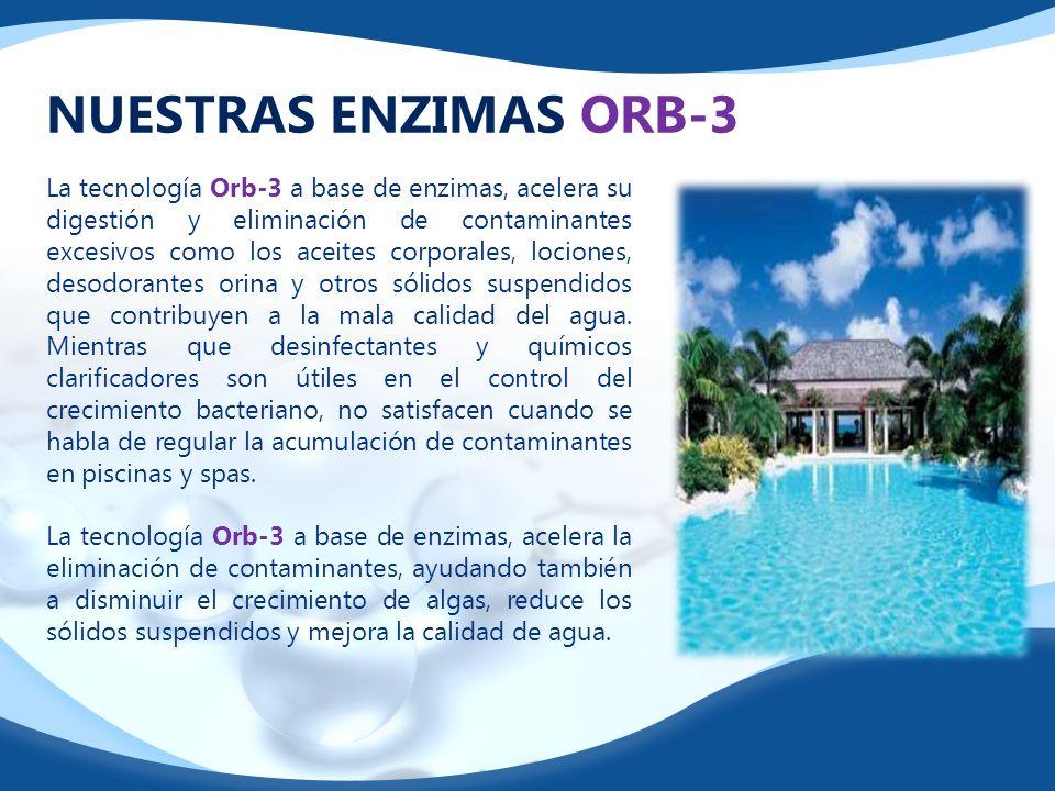 NUESTRAS ENZIMAS ORB-3 La tecnología Orb-3 a base de enzimas, acelera su digestión y eliminación de contaminantes excesivos como los aceites corporale