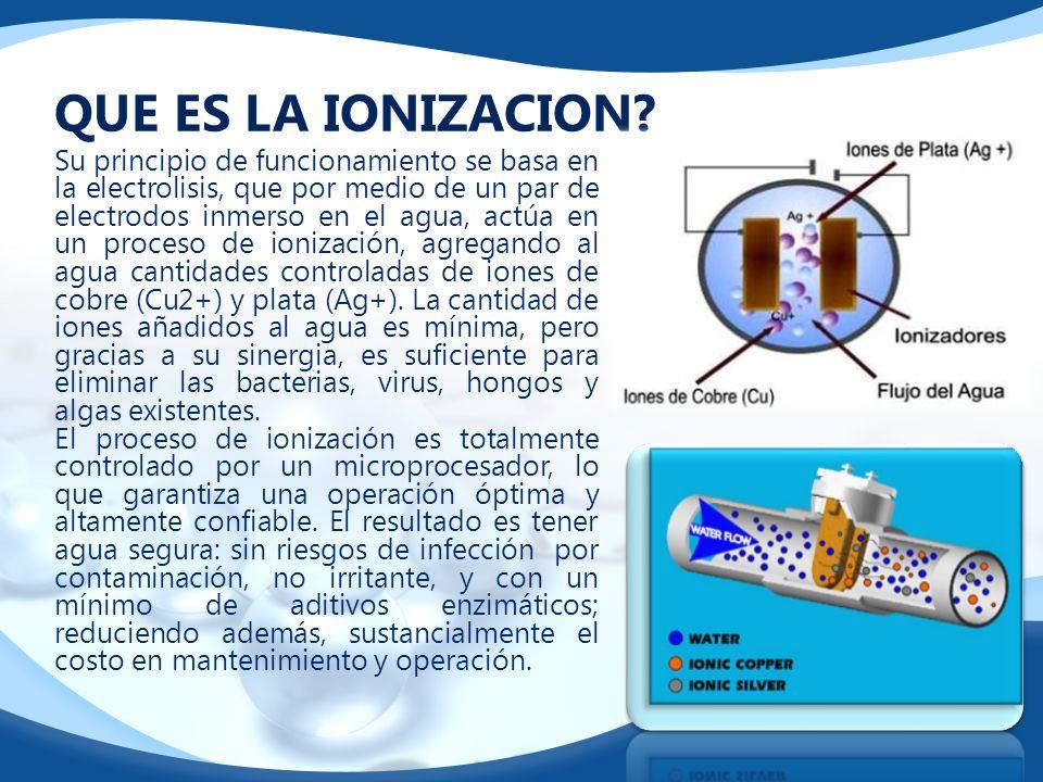 QUE ES LA IONIZACION? Su principio de funcionamiento se basa en la electrolisis, que por medio de un par de electrodos inmerso en el agua, actúa en un