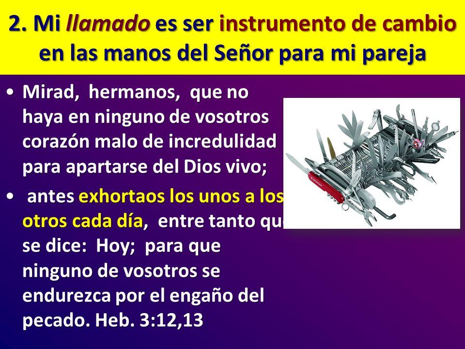 2. Mi llamado es ser instrumento de cambio en las manos del Señor para mi pareja Mirad, hermanos, que no haya en ninguno de vosotros corazón malo de i