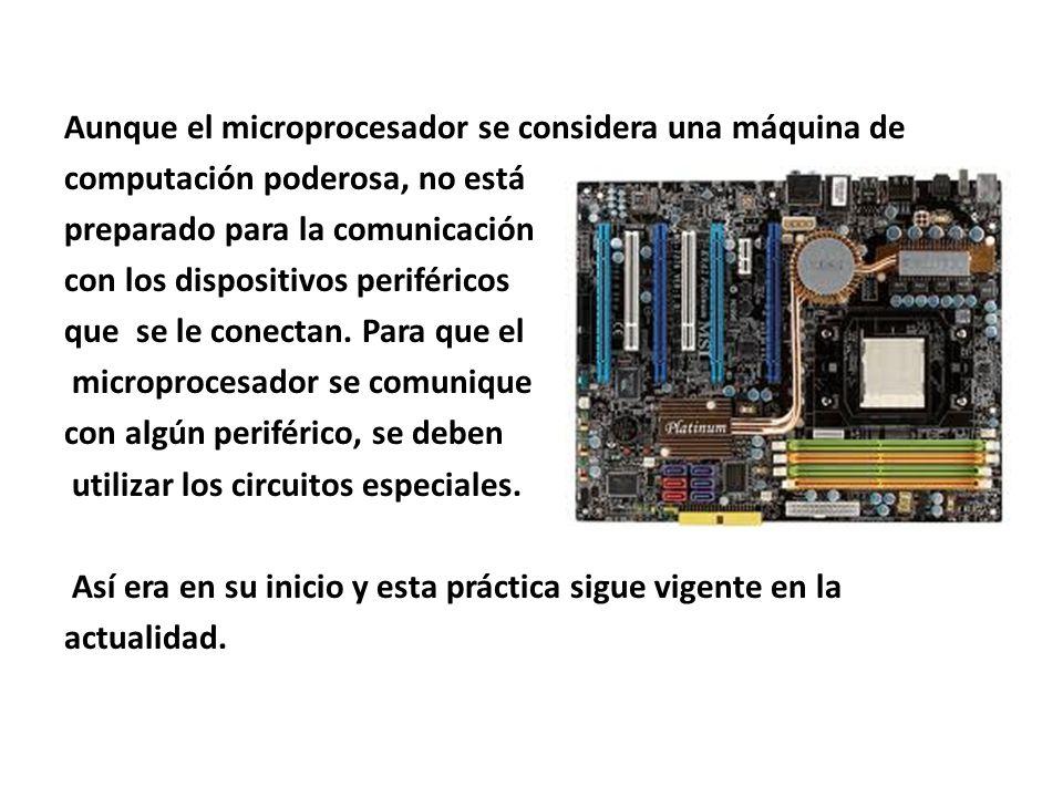 Aunque el microprocesador se considera una máquina de computación poderosa, no está preparado para la comunicación con los dispositivos periféricos qu