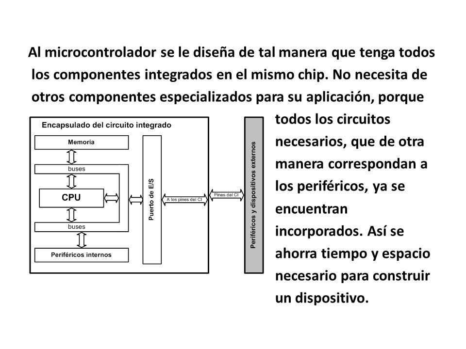 Al microcontrolador se le diseña de tal manera que tenga todos los componentes integrados en el mismo chip. No necesita de otros componentes especiali