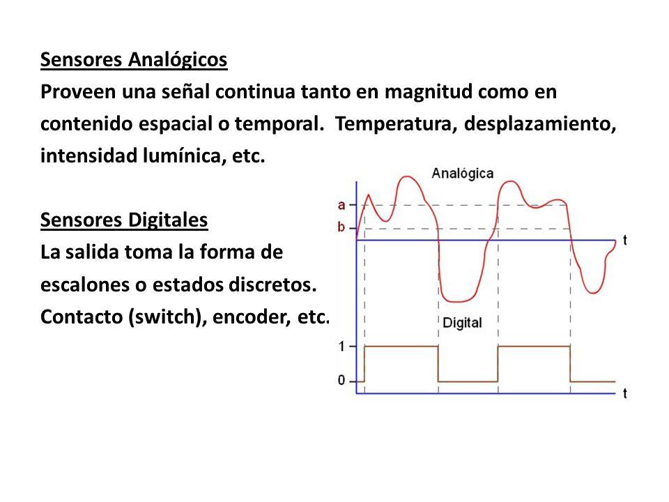 Sensores Analógicos Proveen una señal continua tanto en magnitud como en contenido espacial o temporal. Temperatura, desplazamiento, intensidad lumíni