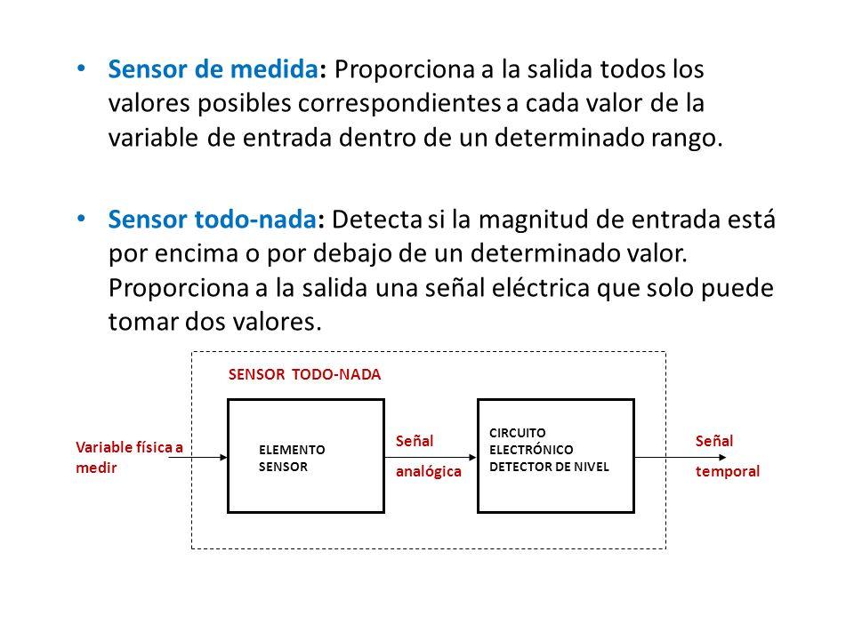 Sensor de medida: Proporciona a la salida todos los valores posibles correspondientes a cada valor de la variable de entrada dentro de un determinado