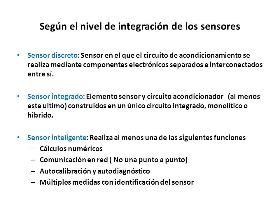 Según el nivel de integración de los sensores Sensor discreto: Sensor en el que el circuito de acondicionamiento se realiza mediante componentes elect