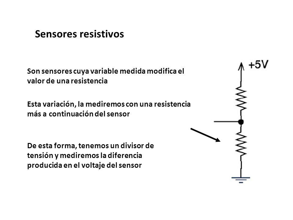 Son sensores cuya variable medida modifica el valor de una resistencia Esta variación, la mediremos con una resistencia más a continuación del sensor