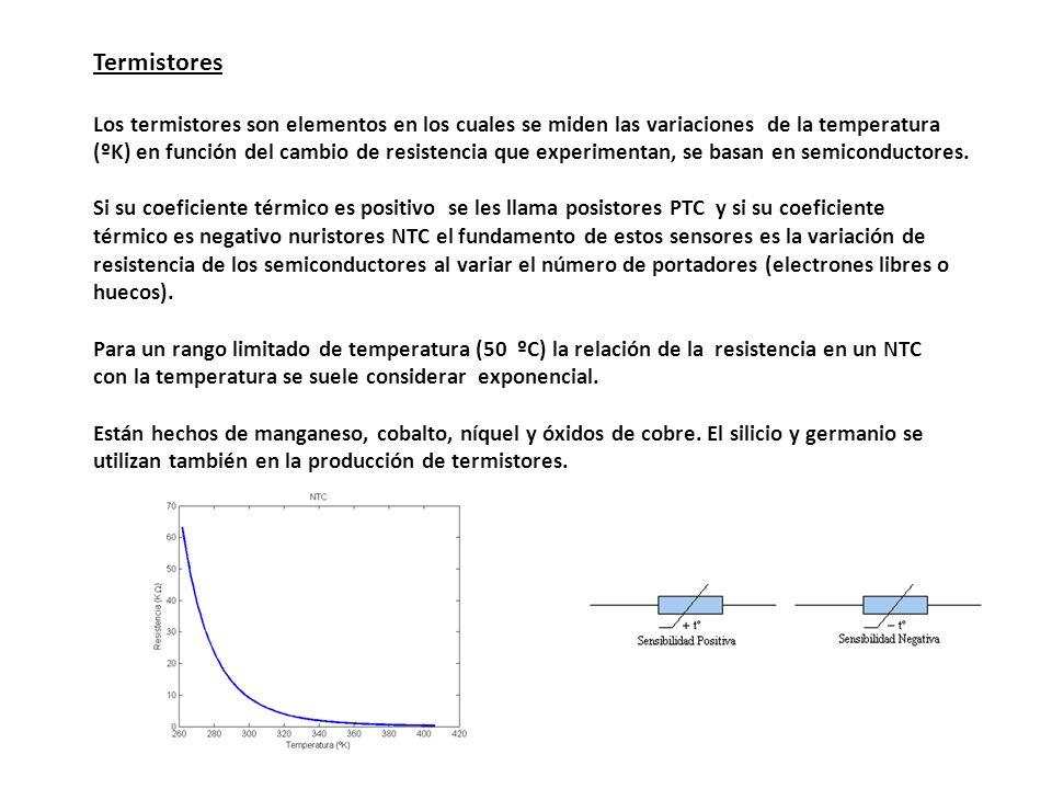 Termistores Los termistores son elementos en los cuales se miden las variaciones de la temperatura (ºK) en función del cambio de resistencia que exper