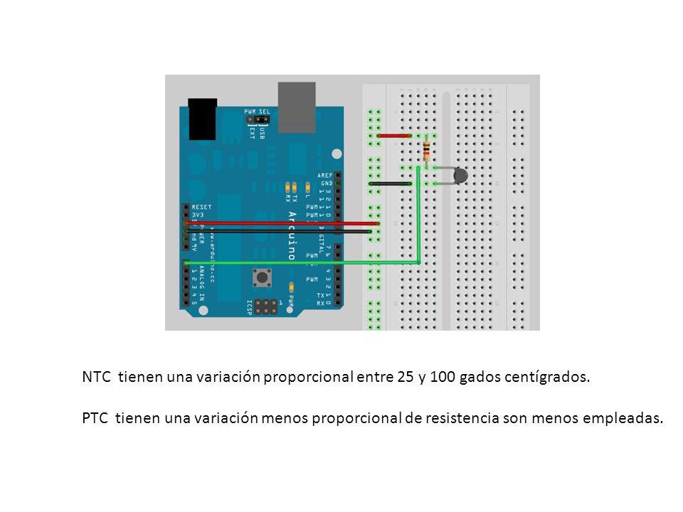 NTC tienen una variación proporcional entre 25 y 100 gados centígrados. PTC tienen una variación menos proporcional de resistencia son menos empleadas
