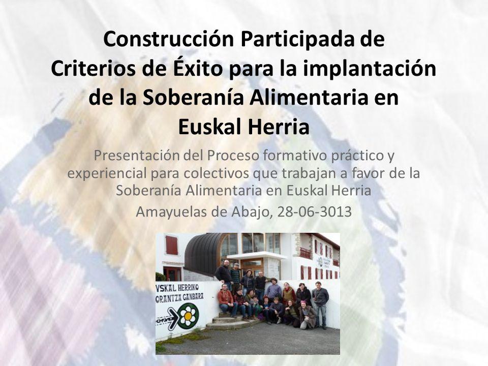 Construcción Participada de Criterios de Éxito para la implantación de la Soberanía Alimentaria en Euskal Herria Presentación del Proceso formativo pr