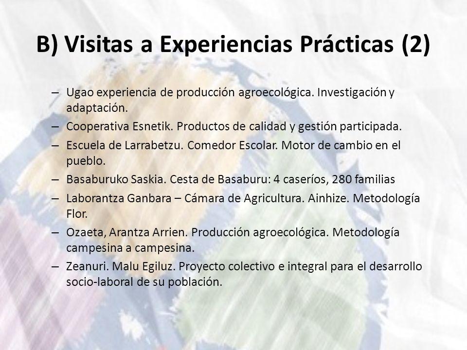 B) Visitas a Experiencias Prácticas (2) – Ugao experiencia de producción agroecológica. Investigación y adaptación. – Cooperativa Esnetik. Productos d