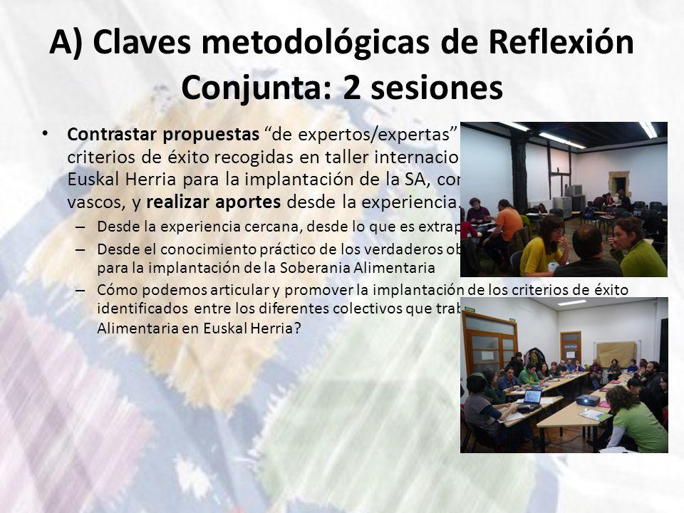 A) Claves metodológicas de Reflexión Conjunta: 2 sesiones Contrastar propuestas de expertos/expertas sobre definición y criterios de éxito recogidas e